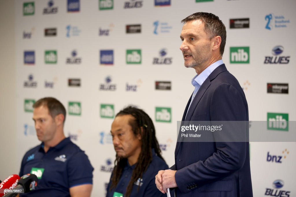 Blues CEO Michael Redman speaks alongside Leon MacDonald and Tana Umaga during a Blues Super Rugby press conference at Blues Headquarters on May 16, 2018 in Auckland, New Zealand. MacDonald was today named as assistant coach of the Blues for the 2019 season.