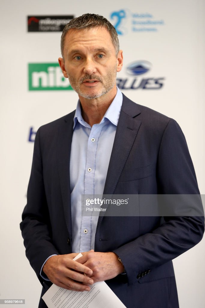 Blues CEO Michael Redman speaks during a Blues Super Rugby press conference at Blues Headquarters on May 16, 2018 in Auckland, New Zealand. MacDonald was today named as assistant coach of the Blues for the 2019 season.