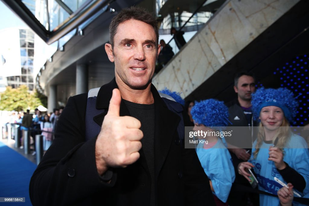 Blues coach Blues coach Brad Fittler arrives at a New South Wales Blues public reception after winning the 2018 State of Origin series at The Star on July 12, 2018 in Sydney, Australia.