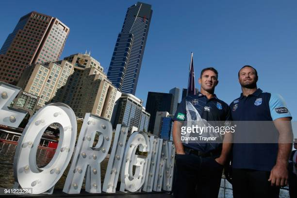 Blues Coach Brad Fittler and Blues Captain Boyd Cordner pose for a photo during the 2018 State of Origin launch at Arbory Afloat on April 3 2018 in...