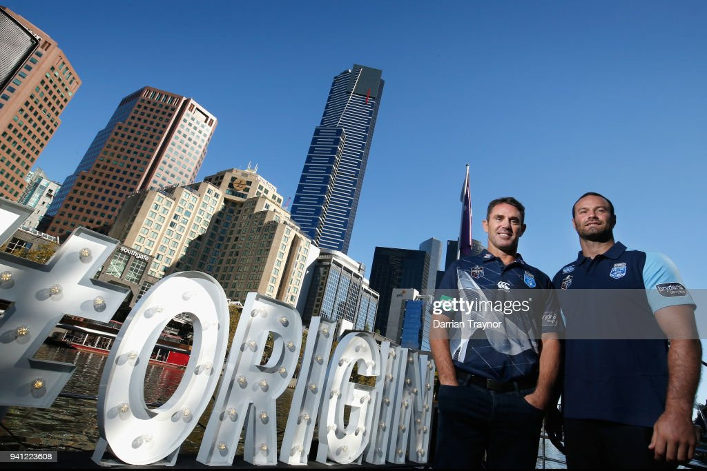 Blues Coach Brad Fittler and Blues Captain Boyd Cordner pose for a photo during the 2018 State of Origin launch at Arbory Afloat on April 3, 2018 in Melbourne, Australia.