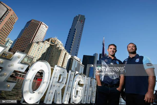 MELBOURNE AUSTRALIA APRIL Blues Coach Brad Fittler and Blues Captain Boyd Cordner pose for a photo during the 2018 State of Origin launch at Arbory...