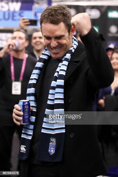 Blues coach Brad Fittler celebrates victory during game two of the State of Origin series between the New South Wales Blues and the Queensland...