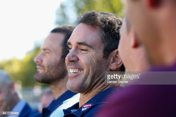Blues Coach Brad Fittler laughs during the 2018 State of Origin launch at Arbory Afloat on April 3 2018 in Melbourne Australia