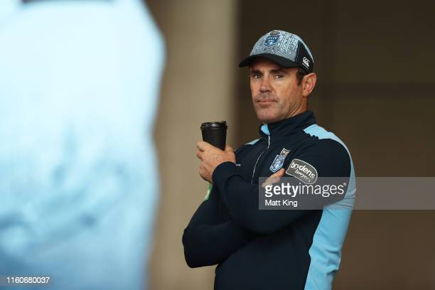 Blues coach Brad Fittler looks on during a New South Wales Blues State of Origin training session at the NSWRL Centre of Excellence on July 08, 2019...