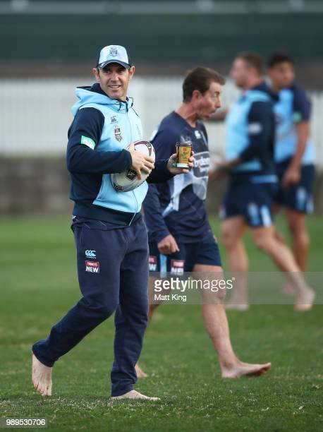 Blues coach Brad Fittler looks on during a New South Wales Blues State of Origin Recovery Session at Coogee Oval on July 2 2018 in Sydney Australia