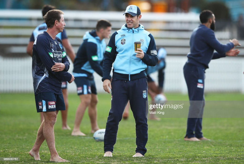 Blues coach Brad Fittler looks on during a New South Wales Blues State of Origin Recovery Session at Coogee Oval on July 2, 2018 in Sydney, Australia.