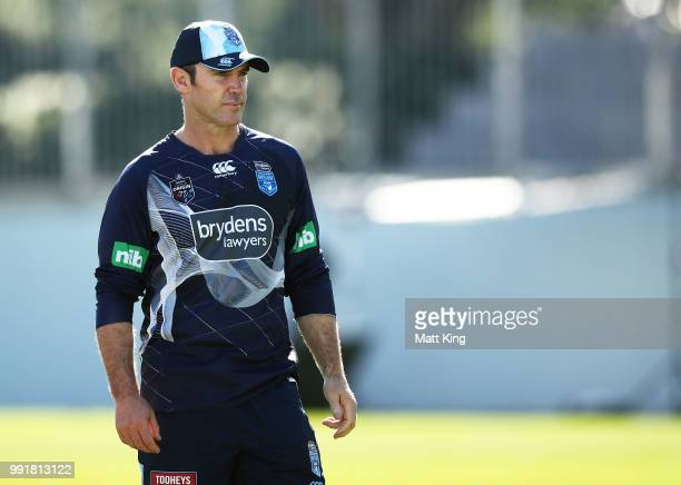 Blues coach Brad Fittler looks on during a New South Wales Blues State of Origin training session at NSWRL Centre of Excellence Field on July 5 2018...