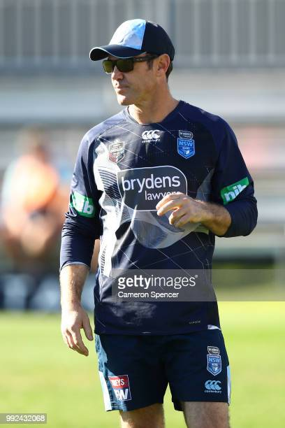 Blues coach Brad Fittler looks on during a New South Wales Blues State of Origin training session at Coogee Oval on July 6 2018 in Sydney Australia