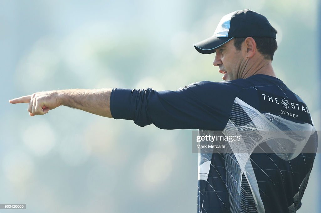 Blues coach Brad Fittler looks on during a New South Wales State of Origin training session at Coogee Oval on May 29, 2018 in Sydney, Australia.
