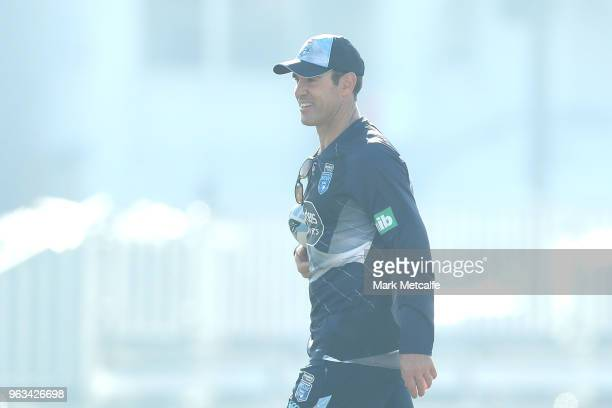Blues coach Brad Fittler looks on during a New South Wales State of Origin training session at Coogee Oval on May 29 2018 in Sydney Australia