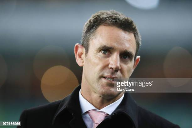 Blues Coach Brad Fittler looks on during the round 15 NRL match between the Sydney Roosters and the Penrith Panthers at Allianz Stadium on June 15...