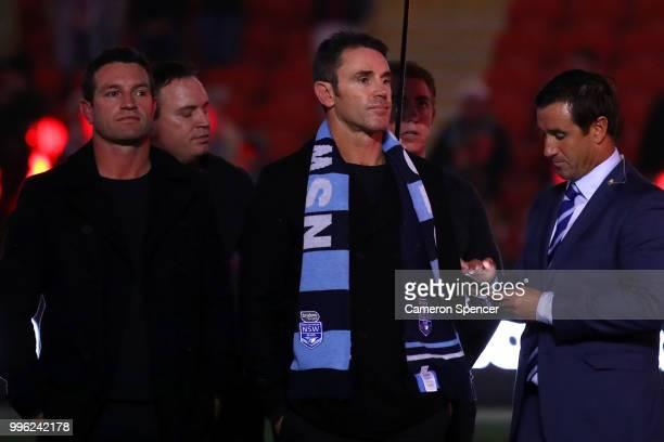 Blues coach Brad Fittler looks on following game three of the State of Origin series between the Queensland Maroons and the New South Wales Blues at...