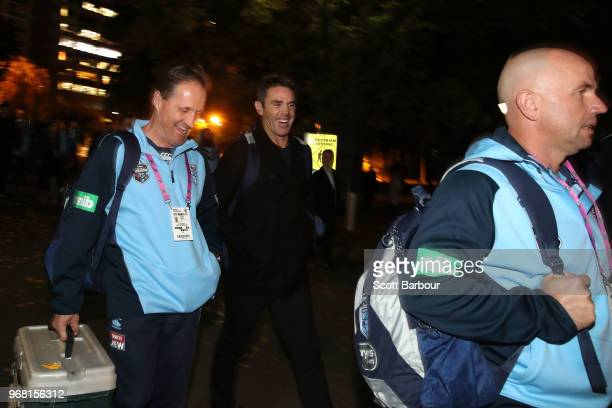 Blues coach Brad Fittler smiles ahead of game one of the State Of Origin series between the Queensland Maroons and the New South Wales Blues at the...