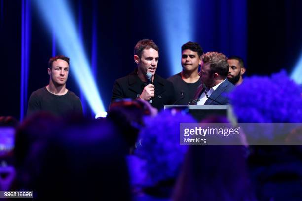Blues coach Brad Fittler speaks during a New South Wales Blues public reception after winning the 2018 State of Origin series at The Star on July 12...
