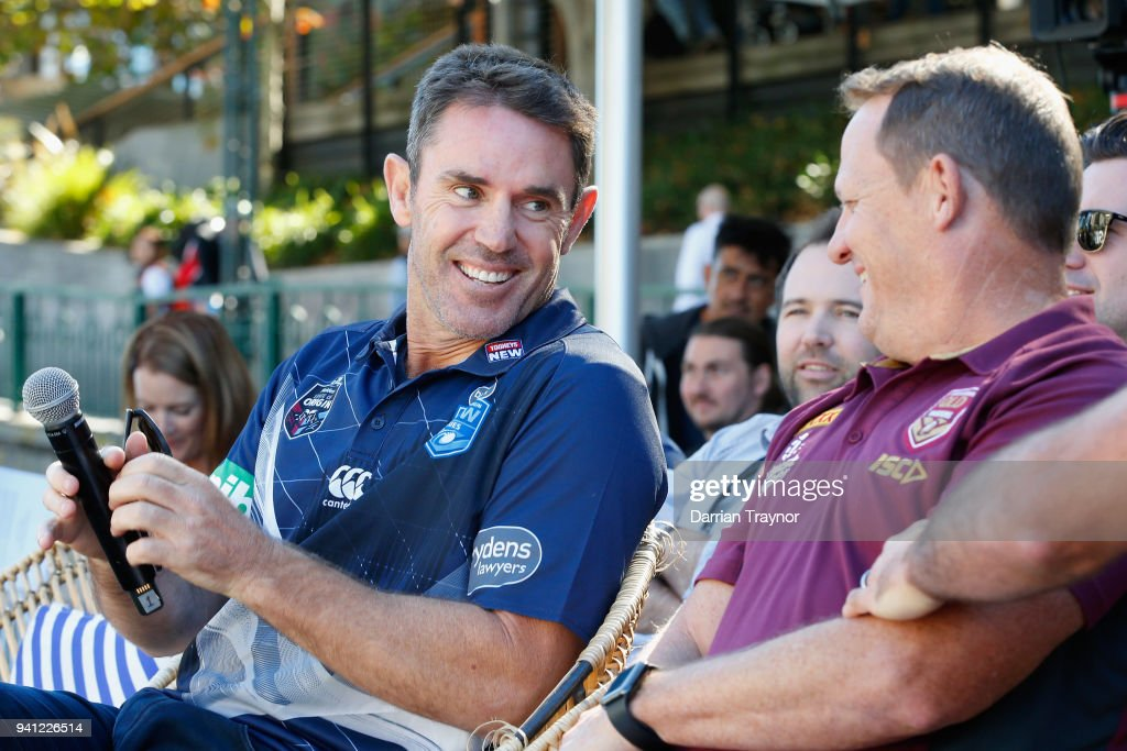Blues Coach Brad Fittler takes a seat next to Maroons Coach Kevin Walters during the 2018 State of Origin launch at Arbory Afloat on April 3, 2018 in Melbourne, Australia.