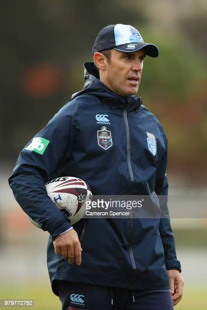 Blues coach Brad Fittler talks to players during a New South Wales Blues State of Origin training session at Coogee Oval on June 21 2018 in Sydney...