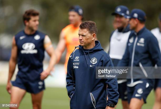Blues coach Brendon Bolton looks on during a Carlton Blues AFL Media Opportunity at Highgate Reserve on January 31 2018 in Melbourne Australia