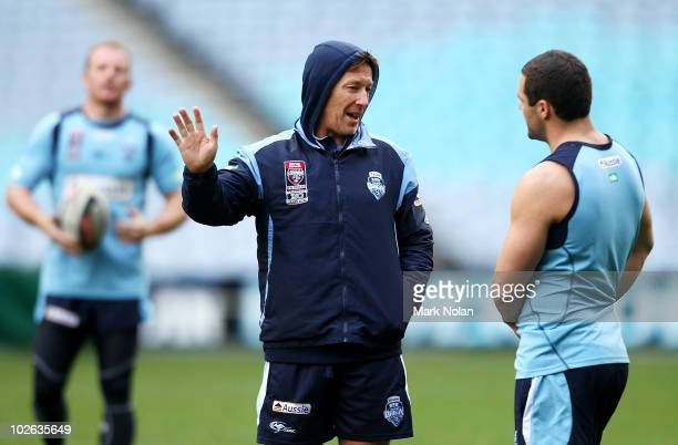 Blues coach Craig Bellamy talks with Michael Gordon during a New South Wales Blues State of Origin training session ahead of Game III tomorrow at ANZ...