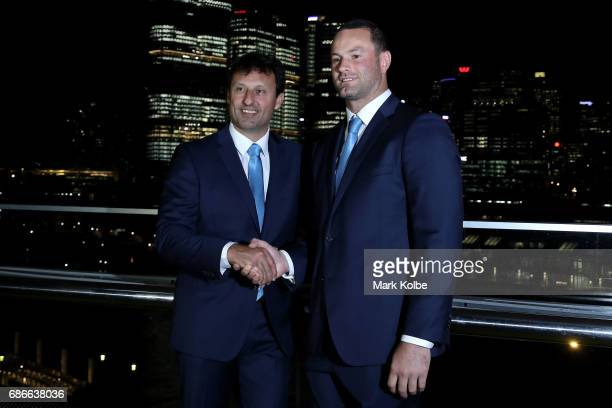 Blues coach Laurie Daley and new captain Boyd Cordner pose after Cordner's announcement as the Blues captain during the New South Wales State of...