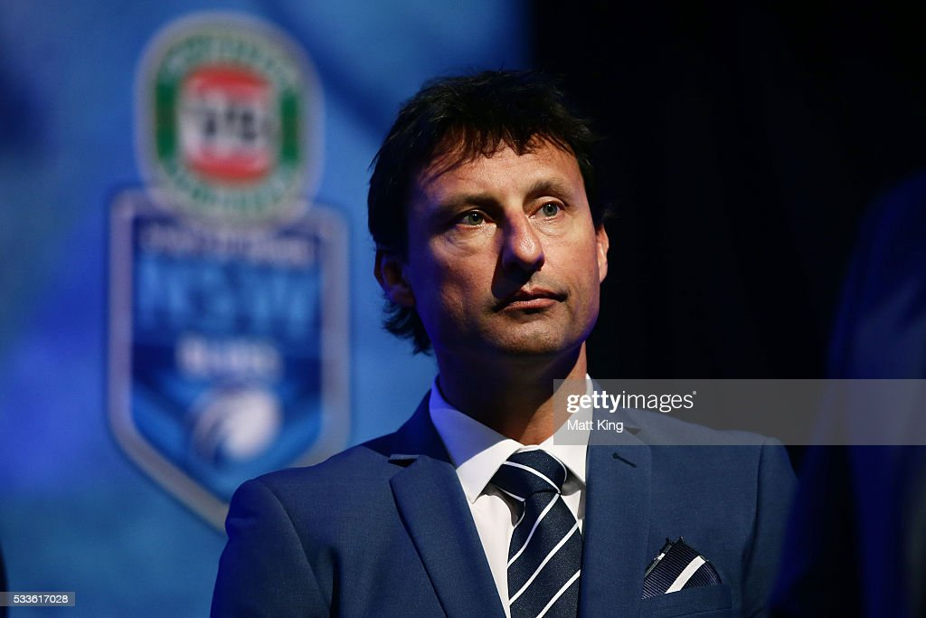 Blues coach Laurie Daley looks on during the NSW Blues State of Origin team announcement at The Star on May 23, 2016 in Sydney, Australia.