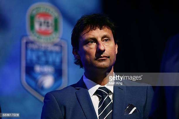 Blues coach Laurie Daley looks on during the NSW Blues State of Origin team announcement at The Star on May 23 2016 in Sydney Australia