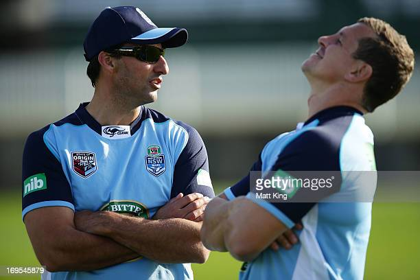 Blues coach Laurie Daley speaks to Greg Bird during a New South Wales Blues State of Origin training session at Coogee Oval on May 27 2013 in Sydney...