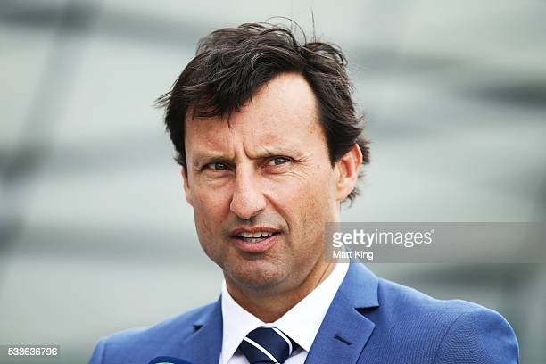 Blues coach Laurie Daley speaks to the media during the NSW Blues State of Origin team announcement at The Star on May 23 2016 in Sydney Australia