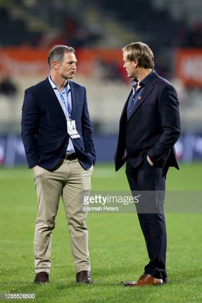 Blues coach Leon MacDonald and Crusaders coach Scott Robertson before the round 5 Super Rugby Aotearoa match between the Crusaders and the Blues at...