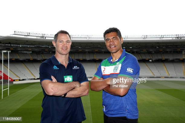 Blues coach Leon MacDonald and Warriors coach Stephen Kearney pose during a joint media opportunity with the Auckland Blues and the New Zealand...