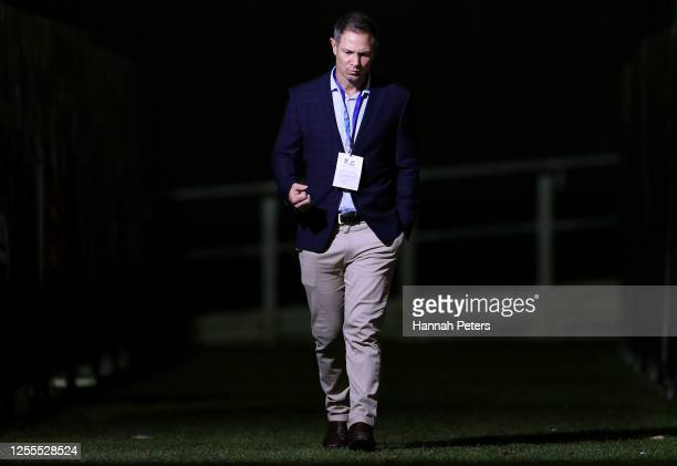 Blues coach Leon MacDonald before the round 5 Super Rugby Aotearoa match between the Crusaders and the Blues at Orangetheory Stadium on July 11, 2020...