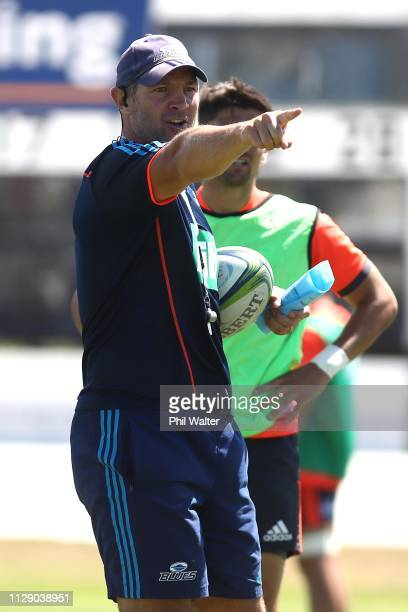 Blues coach Leon MacDonald during training prior to the Blues Media Session at Alexandra Park on February 12 2019 in Auckland New Zealand