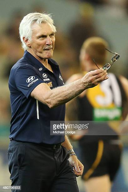 Blues coach Michael Malthouse gestures to Jarrad Waite during the round two AFL match between the Richmond Tigers and the Carlton Blues at Melbourne...