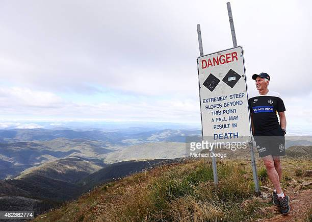 Blues coach Michael Malthouse poses on the summit of Mount Buller during the Carlton Blues AFL training camp on January 28 2015 in Mount Buller...