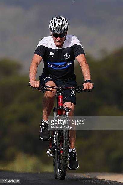 Blues coach Michael Malthouse struggles while riding to the top of up Mount Buller during the Carlton Blues AFL training camp on January 27 2015 in...