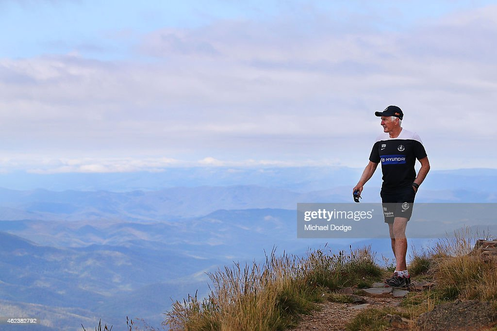 Blues coach Michael Malthouse walks on the summit of Mount Buller during the Carlton Blues AFL training camp on January 28, 2015 in Mount Buller, Australia.