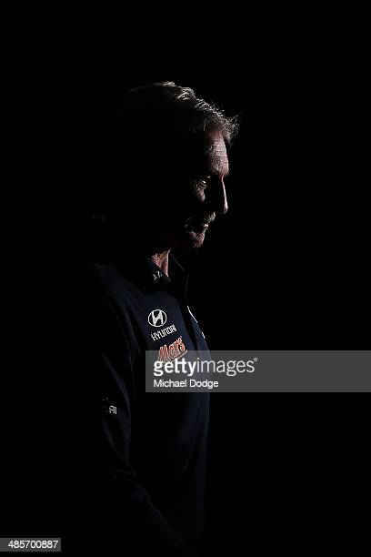 Blues coach Michael Malthouse walks up the race during the round five AFL match between the Western Bulldogs and the Carlton Blues at Etihad Stadium...