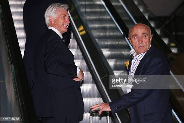 Blues coach Mick Malthouse and Bombers President Paul Little arrive during the 2014 AFL Season Launch at Adelaide Oval on March 5 2014 in Adelaide...