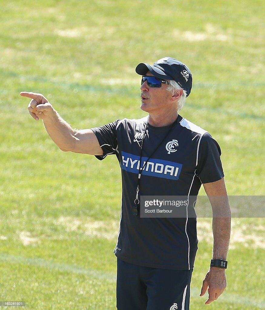 Blues Coach Mick Malthouse gestures during a Carlton Blues AFL training session at Visy Park on March 7, 2013 in Melbourne, Australia.