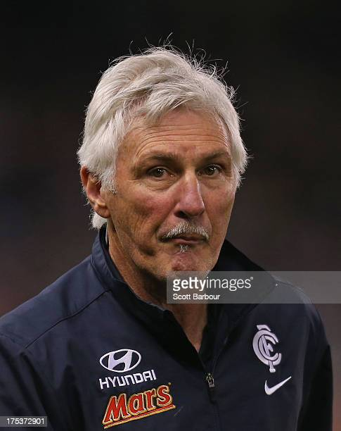 Blues coach Mick Malthouse looks on during the round 19 AFL match between the Carlton Blues and the Fremantle Dockers at Etihad Stadium on August 3...
