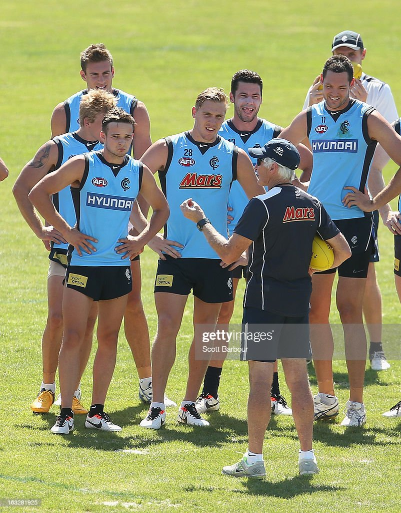 Blues Coach Mick Malthouse speaks to his team during a Carlton Blues AFL training session at Visy Park on March 7, 2013 in Melbourne, Australia.