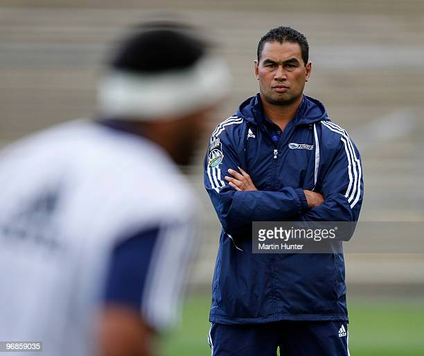 Blues coach Pat Lam looks on prior to the start of the during the round two Super 14 match between the Highlanders and the Blues at Carisbrook on...