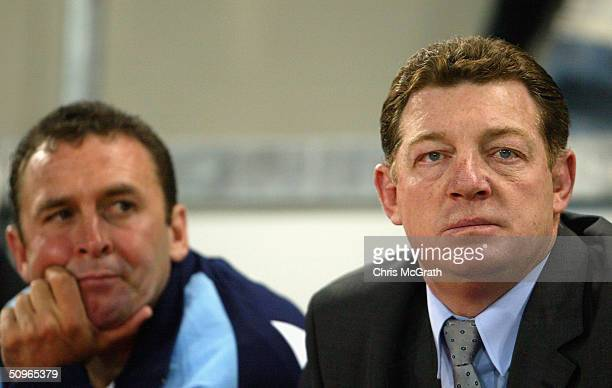 Blues coach Phil Gould and Ricky Stuart watch on during game two of the NRL State Of Origin series between the Queensland Maroons and the New South...