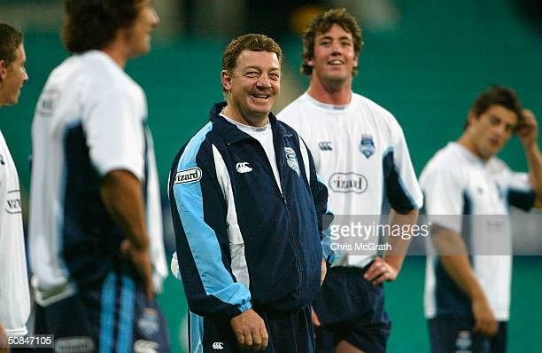 Blues coach Phil Gould jokes around during the NSW Blues State Of Origin training held at the Sydney Cricket Ground , May 17, 2004 in Sydney,...