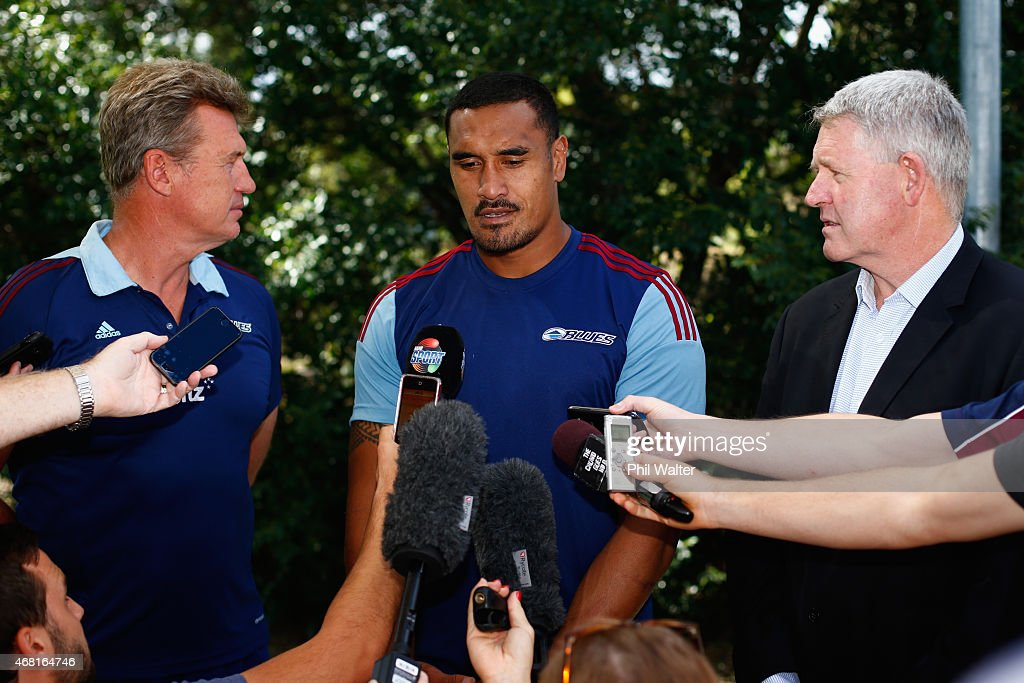 Blues coach Sir John Kirwan, Jerome Kaino, and New Zealand Rugby CEO Steve Tew during a Blues Super Rugby press conference at Unitec on March 31, 2015 in Auckland, New Zealand. Jerome Kaino today announced that he has committed himself for the next three years to New Zealand Rugby, the Blues and Auckland Rugby.