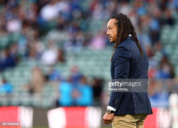 Blues coach Tana Umaga during warm up at the round five Super Rugby match between the Blues and the Bulls at Eden Park on March 25 2017 in Auckland...