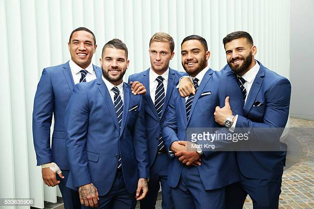 NSW Blues debutants Tyson Frizell Adam Reynolds Matt Moylan Dylan Walker and Josh Mansour pose during the NSW Blues State of Origin team announcement...