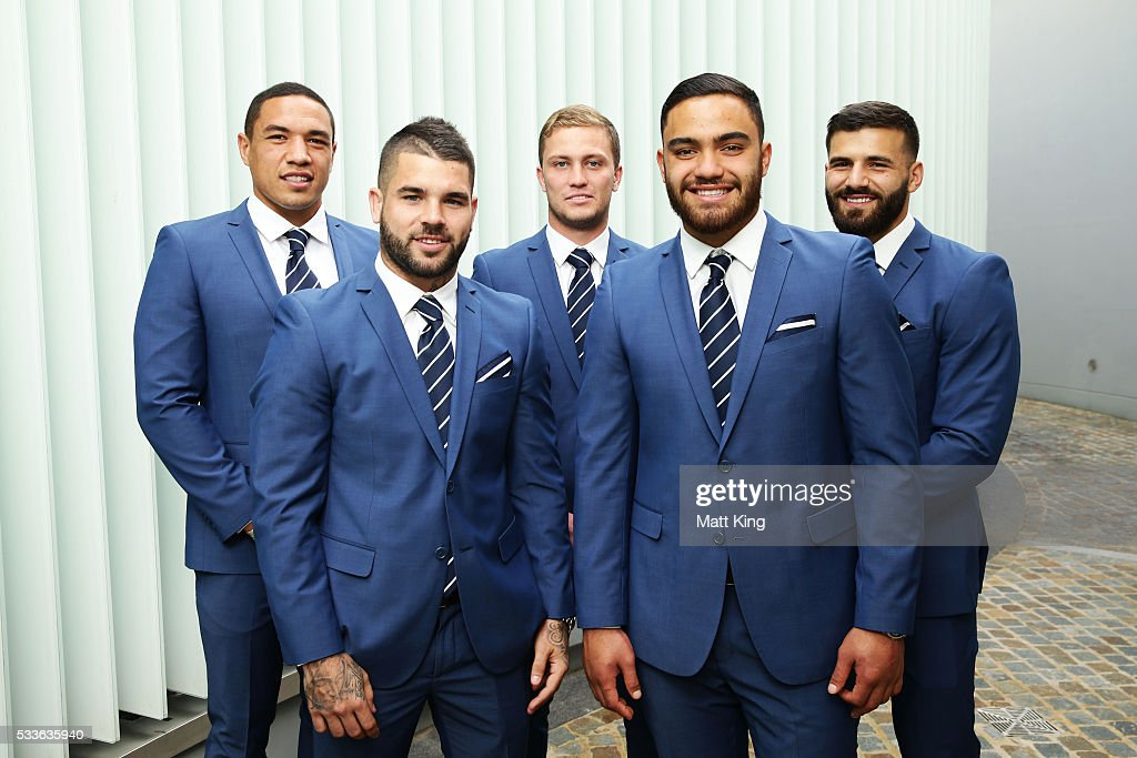 NSW Blues debutants Tyson Frizell, Adam Reynolds, Matt Moylan, Dylan Walker and Josh Mansour pose during the NSW Blues State of Origin team announcement at The Star on May 23, 2016 in Sydney, Australia.