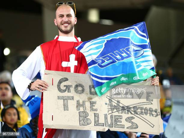 Blues fan during the round 12 Super Rugby match between the Blues and the Hurricanes at Eden Park on May 11 2018 in Auckland New Zealand