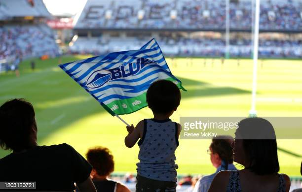 Blues fan during the round one Super Rugby match between the Blues and the Chiefs at Eden Park on January 31, 2020 in Auckland, New Zealand.